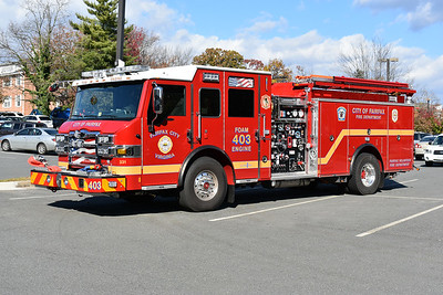 Fairfax City, Virginia Foam Engine 403 - a 2017 Pierce Velocity with a 2000/700/300 foam.  Job number 30721. This 2017 Pierce Velocity replaced a 2007 Pierce Dash foam engine, which went into reserve at Fairfax City.