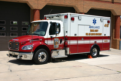 Former Medic 415 was a 2006 Freightliner M2/Medic Master, County #6593.  Now in reserve status.