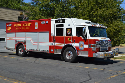 Rescue 418 from the Jefferson station in Fairfax County is this 2014 Pierce Velocity with Pierce job number 27614-01.  It is one of two identical rescues delivered to the county, with the other assigned to R-421 at Fair Oaks.