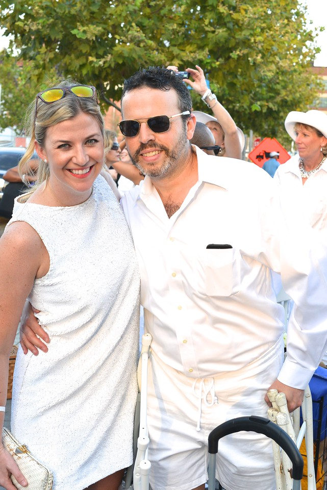 Kiki Burger, Tim Burger, The global phenomenon secret dinner party, Diner en Blanc, attracted over 1,300 guests all wearing white.  The Yards Park, Thursday, September 4, 2014.  Photo by Ben Droz