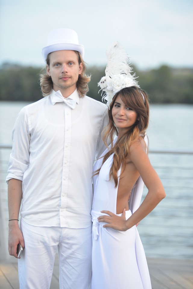 Erik Svensson, Osiris Rebollo,The global phenomenon secret dinner party, Diner en Blanc, attracted over 1,300 guests all wearing white.  The Yards Park, Thursday, September 4, 2014.  Photo by Ben Droz