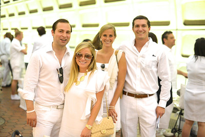 Andrew Elliot, Maggie Rhodes, Maureen Chenot, Henry Murphey, The global phenomenon secret dinner party, Diner en Blanc, attracted over 1,300 guests all wearing white.  The Yards Park, Thursday, September 4, 2014.  Photo by Ben Droz