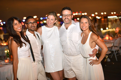 Smita Satiani, Vikram Aiyer, Kiki Burger, Tim Burger, Lauren Hersh, The global phenomenon secret dinner party, Diner en Blanc, attracted over 1,300 guests all wearing white.  The Yards Park, Thursday, September 4, 2014.  Photo by Ben Droz