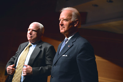 Senator John McCain, Vice President Joe Biden, Face The Nation, 60th Anniversary, Newseum, November 17, 2014, Photo by Ben Droz.
