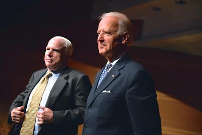 Senator John McCain, Vice President Joe Biden, Face The Nation, 60th Anniversary, Newseum, November 17, 2014, Photo by Ben Droz.