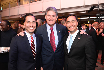 Julian Castro, Senator Joe Manchin, Rep. Joaquin Castro, Face The Nation, 60th Anniversary, Newseum, November 17, 2014, Photo by Ben Droz.