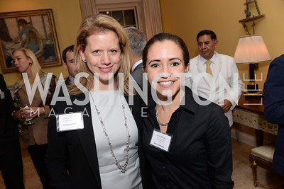 Chrissy Kousin, Kelly Bonilla, Teach for America, Cocktails and Conversation, the Home of Katherine and David Bradley, Wednesday, November 5, 2014, photo by Ben Droz.