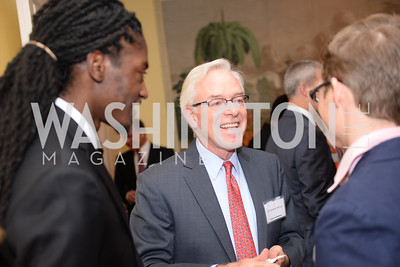 KC Khafra, Christopher Ritzert, Patrick Bonner, Teach for America, Cocktails and Conversation, the Home of Katherine and David Bradley, Wednesday, November 5, 2014, photo by Ben Droz.