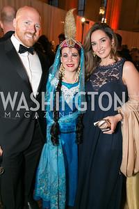 Scott Bruggeman, Adriane Whalen, Narges Gheissari. Photo by Alfredo Flores. Fifth Annual Nowruz Commission Gala. Andrew W. Mellon Auditorium. March 15, 2014