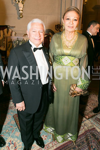 Chairman and Co-Founder of Nowruz Commission, Nasser Kazeminy ; Her Imperial Majesty, Farah Pahlavi. Photo by Alfredo Flores. Fifth Annual Nowruz Commission Gala. Andrew W. Mellon Auditorium. March 15, 2014