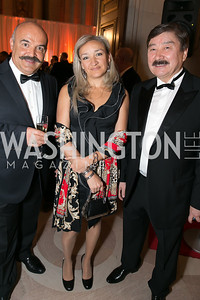 Peter Pazmanny, Donna Pazmany, Dusen Kaseinov. Photo by Alfredo Flores. Fifth Annual Nowruz Commission Gala. Andrew W. Mellon Auditorium. March 15, 2014