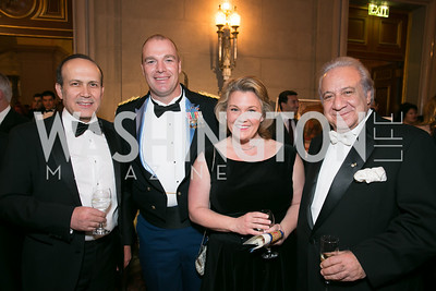 Amb. Namik Tan, Major Jesse Greaves, Heather Greaves, Ghassan Aidi. Photo by Alfredo Flores. Fifth Annual Nowruz Commission Gala. Andrew W. Mellon Auditorium. March 15, 2014