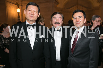 Amb. Kairat Umarov, Dusen Kaseinov, Firat Purat. Photo by Alfredo Flores. Fifth Annual Nowruz Commission Gala. Andrew W. Mellon Auditorium. March 15, 2014