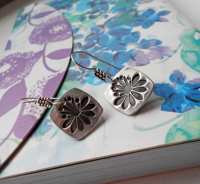 "Fine Silver Square Waterlily or Lotus Flower Earrings on Sterling Silver Ear Hooks<br /> <br /> ~ Made by Alasha Lantinga <br />  <a href=""http://www.facebook.com/saffirejewelry"">http://www.facebook.com/saffirejewelry</a> <a href=""http://www.alashalantinga.com"">http://www.alashalantinga.com</a>"