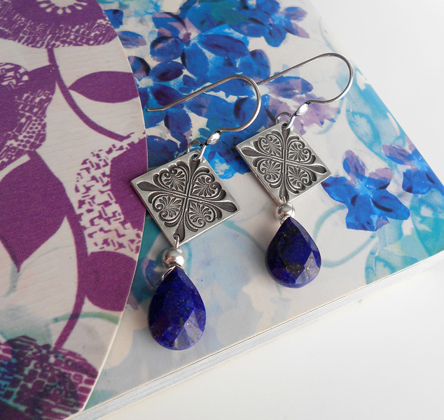 """Fine Silver Ornate Square with Deep Blue Lapis Lazuli <br /> <br /> ~ Made by Alasha Lantinga <br />  <a href=""""http://www.facebook.com/saffirejewelry"""">http://www.facebook.com/saffirejewelry</a> <a href=""""http://www.alashalantinga.com"""">http://www.alashalantinga.com</a>"""