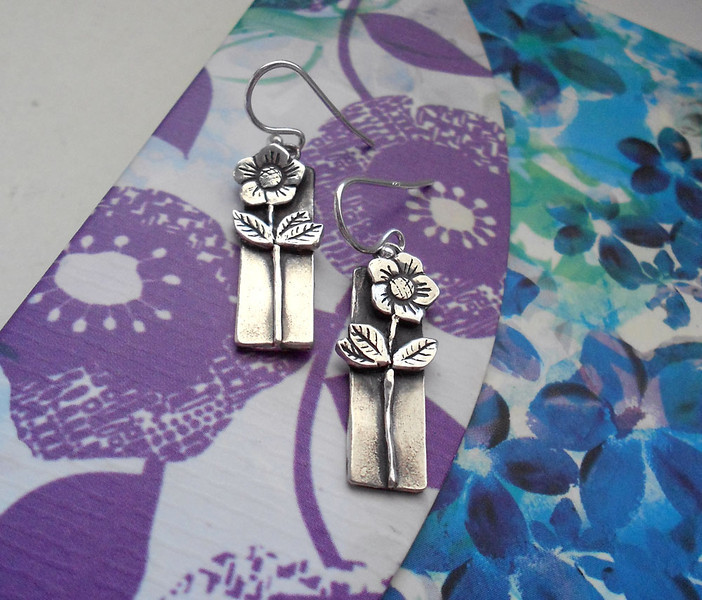 "Super Cute 3D Flower Fine Silver Earrings with Sterling Silver Ear Hooks<br /> <br /> ~ Made by Alasha Lantinga <br />  <a href=""http://www.facebook.com/saffirejewelry"">http://www.facebook.com/saffirejewelry</a> <a href=""http://www.alashalantinga.com"">http://www.alashalantinga.com</a>"