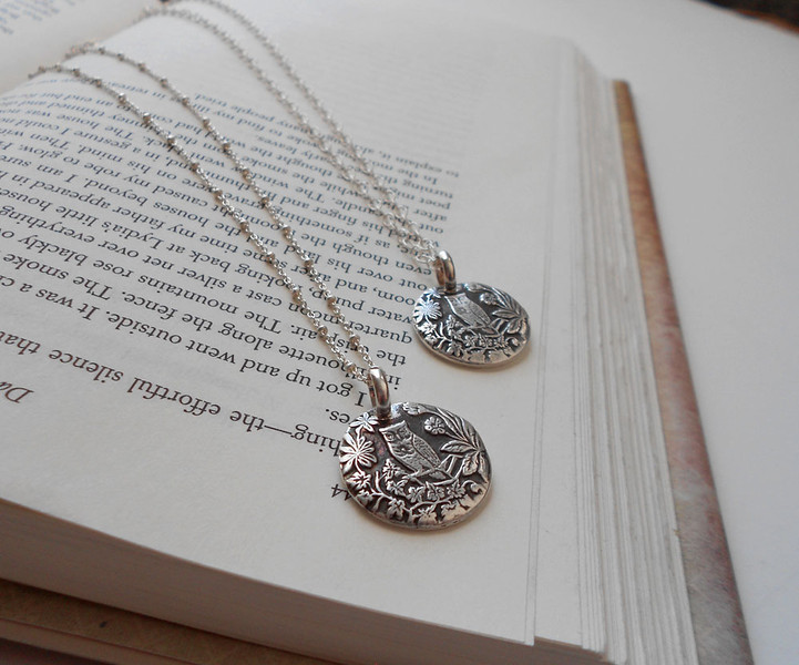 Cute Owl Sitting on Branch Surrounded by Leaves and Flowers Silver Necklace