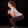 Lindsay Bloom 8.5 months along, doing goblet squats with a kettlebell