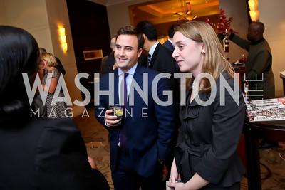 Nick Maschari, Emily Simon. Photo by Tony Powell. FP Diplomat of the Year Award. Mandarin Oriental. October 29, 2014