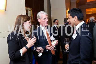 Erin Gulick, Charles Hall, Gaurab Bansal. Photo by Tony Powell. FP Diplomat of the Year Award. Mandarin Oriental. October 29, 2014