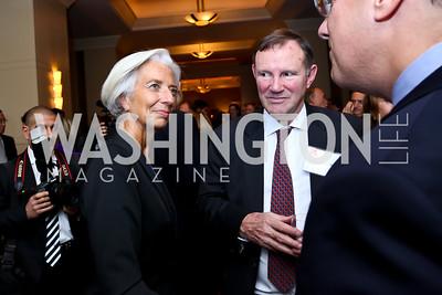 Christine Lagarde, Don Graham. Photo by Tony Powell. FP Diplomat of the Year Award. Mandarin Oriental. October 29, 2014