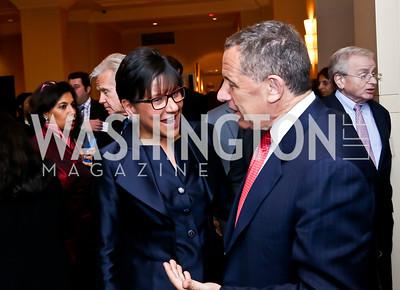 Sec Penny Pritzker, FP Group CEO & editor David Rothkopf. Photo by Tony Powell. FP Diplomat of the Year Award. Mandarin Oriental. October 29, 2014