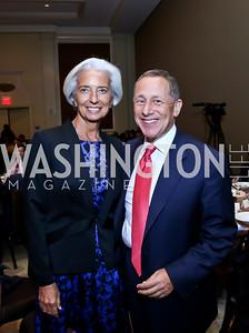 Christine Lagarde, FP Group CEO & editor David Rothkopf. Photo by Tony Powell. FP Diplomat of the Year Award. Mandarin Oriental. October 29, 2014