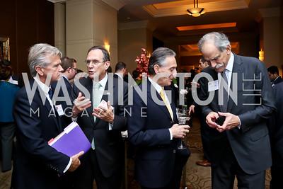 Gerard Rice, Hungary Amb. Gyorgy Szapary, Italy Amb. Claudio Bisogniero, John Lipsky. Photo by Tony Powell. FP Diplomat of the Year Award. Mandarin Oriental. October 29, 2014