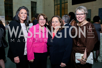 Meryl Comer, Sen. Amy Klobuchar, Stacy Haller, Debra Lappin. Photo by Tony Powell. FNIH 2014 Lurie Prize Dinner. National Academy of Sciences. May 20, 2014