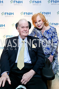 NIH Foundation Chairman Dr. Charles Sanders, Buffy Cafritz. Photo by Tony Powell. FNIH 2014 Lurie Prize Dinner. National Academy of Sciences. May 20, 2014