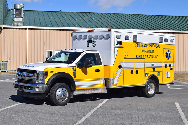 Photographed prior to entering service at Greenwood is '18-2', a 2019 Ford F-550/Horton.  Replaces '18-4', which was sold to Morgan County, West Virginia.