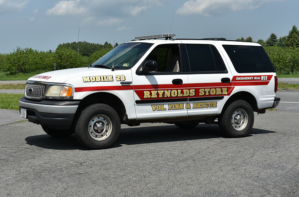 Mobile 20 for Reynolds Store Volunteer Fire & Rescue in Frederick County is this 1998 Ford Expedition and was received from the Frederick County Sheriff's Department.