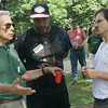 Ed, Jelani and Brooks -- discussing the issues at the Progress Pot Luck Picnic.