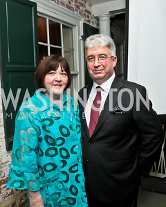Mary Jo Jacobi and Patrick Jephson. Photo by Tony Powell. Garden Reception for Patrick Jephson. Holland House. September 11, 2014