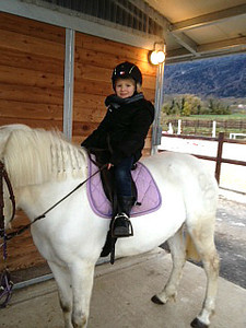 Charlotte likes horses now. Here she is at the home of a colleague of Sarah's and they have two kids and two horses. Charlotte did a horse camp in Geneva in the summer.