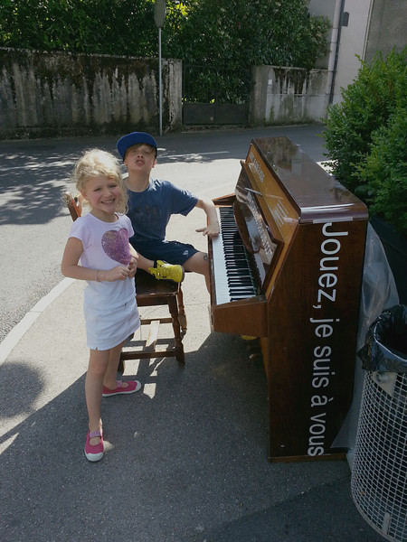 There is a piano festival in the June. They put 33 pianos out on the street, all over town, for anyone to play. We did three of them one afternoon, with bus rides in between.