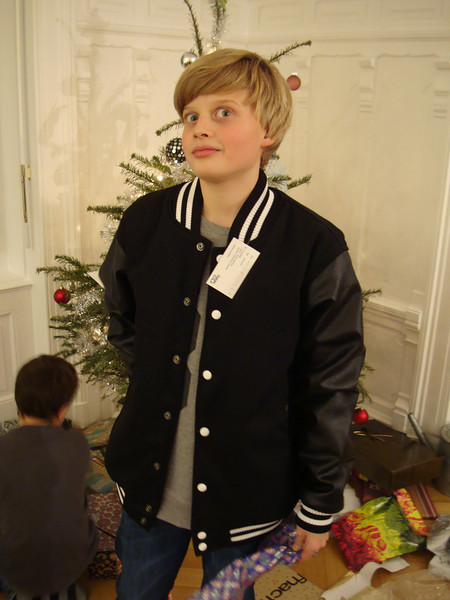 Noa with his letterman jacket from the USA. This is the fashion here now.