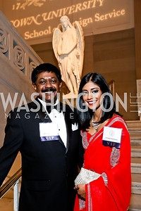 Sri Lanka Amb. Jaliya and Sarindee Wickramasuriya. Photo by Tony Powell. Georgetown's 89th Annual Diplomatic Ball. Corcoran Gallery. April 4, 2014
