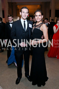 Embassy of Costa Rica Counselor Erick Marin, Tessa Flores. Photo by Tony Powell. Georgetown's 89th Annual Diplomatic Ball. Corcoran Gallery. April 4, 2014