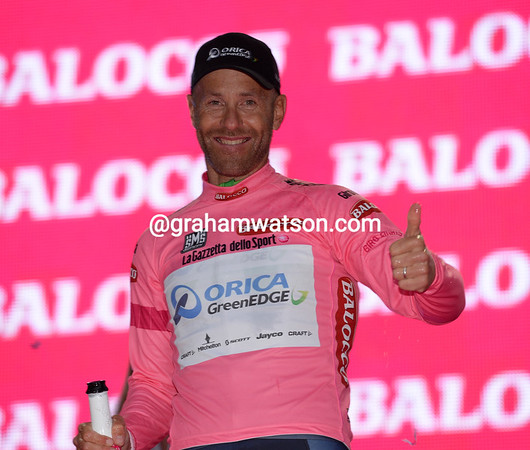 Birthday Boy in Pink - Svein Tuft is the first race-leader of the 2014 Giro d'Italia..!