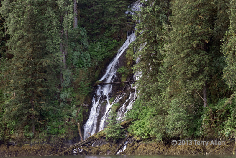 One of many waterfalls that flow into the ocean in the coastal fjords of BC.  This one is in Khutze Inlet in the Great Bear Rainforest.