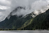 Ridge lines in the early morning mist, Khutze Inlet, Great Bear Rainforest, BC