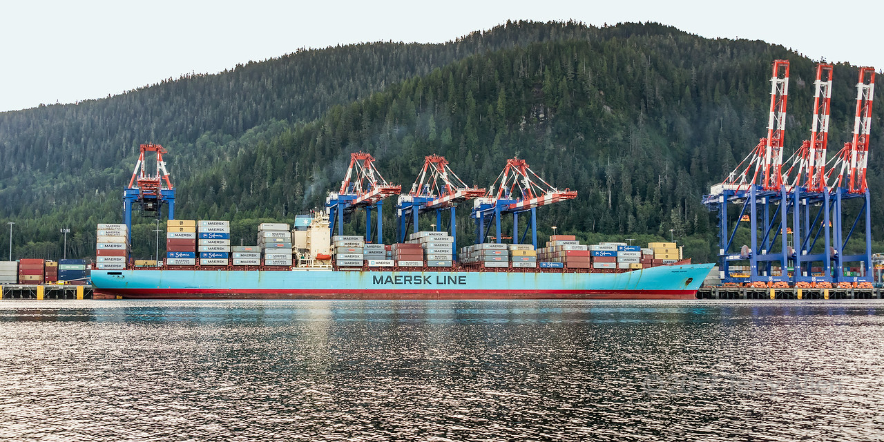 Fairview container terminal with Maersk Kokura, Prince Rupert, British Columbia