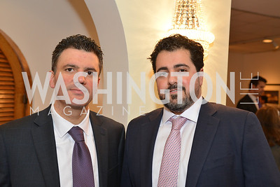 James Gebara, Ardavan Aliabadi, HBS Business Leadership Dinner at the Embassy fo the Kingdom of Bahrain. His Excellency Ambassador Shaikh Abdulla Bin Mohamed Al-Khaifa.  Photo by Ben Droz.