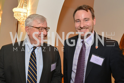 Michael Buonvino, Nathan Regan, HBS Business Leadership Dinner at the Embassy fo the Kingdom of Bahrain. His Excellency Ambassador Shaikh Abdulla Bin Mohamed Al-Khaifa.  Photo by Ben Droz.