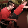 11-28-12<br /> Parisi Speed School at Club Fitness 24<br /> Instructor Andrew Dulmes helps Ray Johnson, 9, with an exercise during the Parisi Speed School.<br /> KT photo | Kelly Lafferty