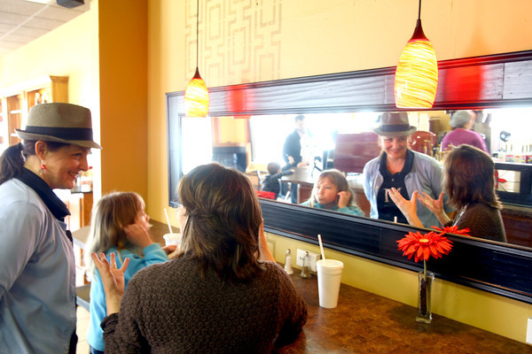3-29-13<br /> Main Street Cafe owned by Sandra Young at the corner of Main and Mulberry Streets.<br /> Owner Sandra Young chats with customer Kathryn Jones who was there with her daughter Susie Jones, 9.<br /> KT photo | Tim Bath