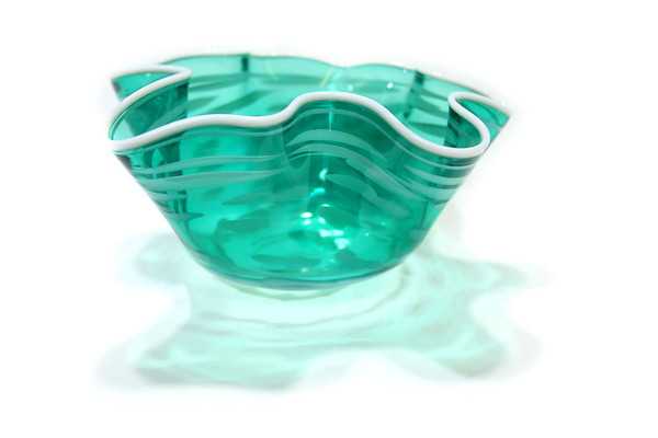 10-10-13  --  Kokomo Opalescent glass --  Floppy Bowl $150<br />   KT photo | Tim Bath