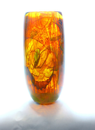 10-10-13  --  Kokomo Opalescent glass  -- Wolfe Fosil Gumbo $225<br />   KT photo | Tim Bath