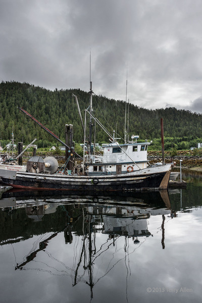 reflected-fishing-boat,-hartley-bay-harbour,-mid-coast-british-columbia